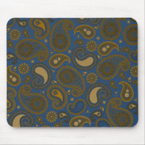 Tan Paisley pattern on blue fabric Mouse Pad