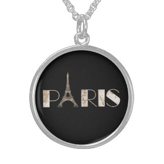 Tan Paris Typogrophy Design From Vintage Map Sterling Silver Necklace
