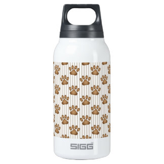 Tan Pawprints on Stripes 10 Oz Insulated SIGG Thermos Water Bottle