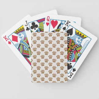 Tan Pawprints on Stripes Bicycle Playing Cards