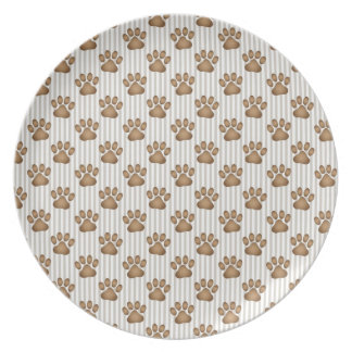 Tan Pawprints on Stripes Dinner Plate