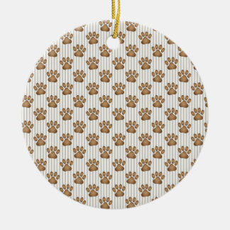 Tan Pawprints on Stripes Double-Sided Ceramic Round Christmas Ornament
