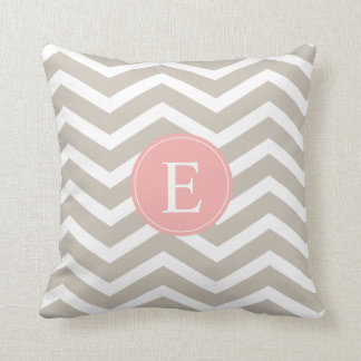 Tan Peach Pink Chevron Monogram Throw Pillow