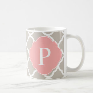 Tan Peach Pink Quatrefoil Monogram Coffee Mug