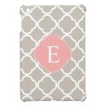 Tan Peach Pink Quatrefoil Monogram Case For The iPad Mini