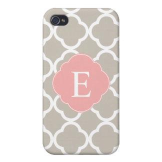 Tan Peach Pink Quatrefoil Monogram iPhone 4/4S Covers