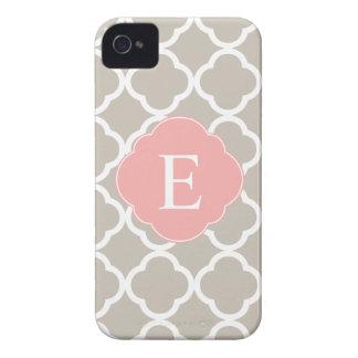 Tan Peach Pink Quatrefoil Monogram iPhone 4 Case