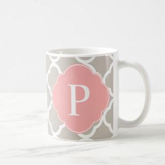 Tan Peach Pink Quatrefoil Monogram Coffee Mug