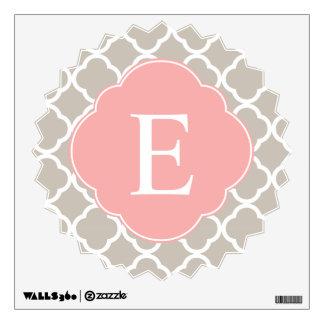 Tan Peach Pink Quatrefoil Monogram Wall Sticker