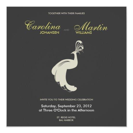 """Tan Peacock II Wedding Invite 5.25"""" Square Invitation Card"""