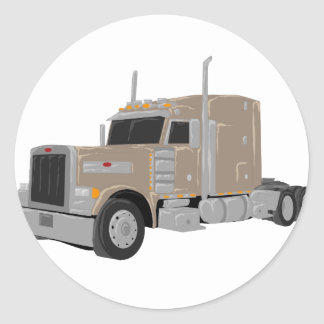 tan peter built truck classic round sticker