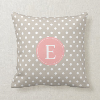Tan Polka Dot Peach Monogram Throw Pillow