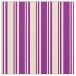 [ Thumbnail: Tan & Purple Colored Lines Pattern Fabric ]