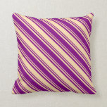 [ Thumbnail: Tan & Purple Colored Lines Pattern Throw Pillow ]