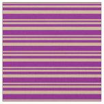 [ Thumbnail: Tan & Purple Colored Stripes Fabric ]