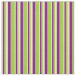 [ Thumbnail: Tan, Purple & Green Stripes/Lines Pattern Fabric ]