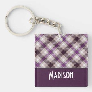 Tan & Purple Plaid Keychain