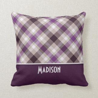 Tan & Purple Plaid Pillow