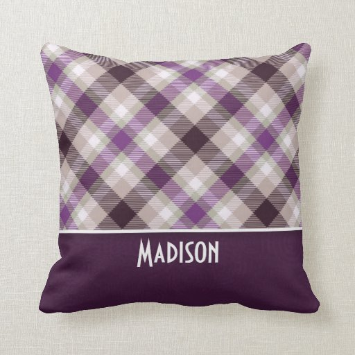 Tan & Purple Plaid Throw Pillow Zazzle