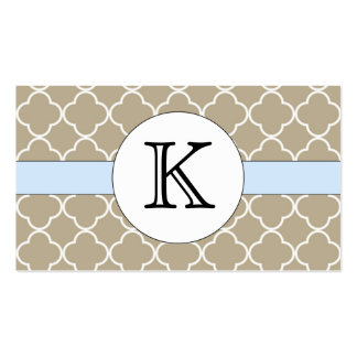 Tan Quatrefoil Pattern Double-Sided Standard Business Cards (Pack Of 100)