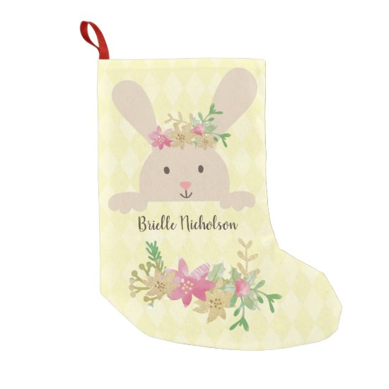Tan Rabbit Pink Gold Poinsettia Floral Small Christmas Stocking