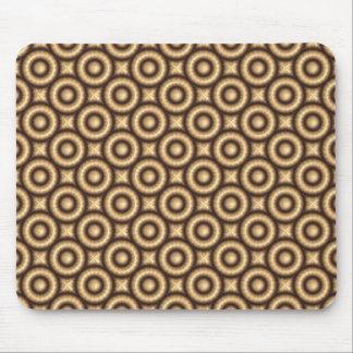 Tan Raised Geometric Circles Mouse Pad