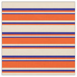 [ Thumbnail: Tan, Red, and Blue Colored Striped Pattern Fabric ]