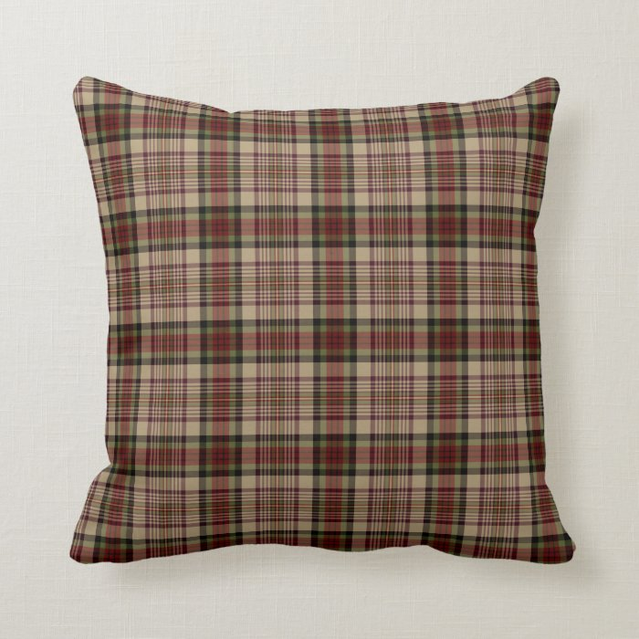 Red Green Throw Pillow : Tan, Red and Green Plaid Throw Pillow Zazzle