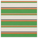 [ Thumbnail: Tan, Red, Forest Green, Bisque & Black Lines Fabric ]