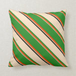 [ Thumbnail: Tan, Red, Forest Green, Bisque & Black Lines Throw Pillow ]