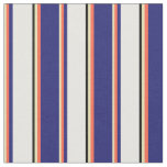 [ Thumbnail: Tan, Red, Midnight Blue, White & Black Pattern Fabric ]