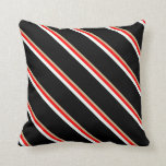 [ Thumbnail: Tan, Red, Mint Cream, and Black Colored Stripes Throw Pillow ]