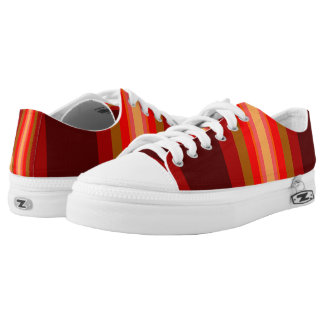 Tan Red Peach Bold Stripes Printed Shoes