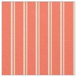 [ Thumbnail: Tan & Red Stripes Fabric ]