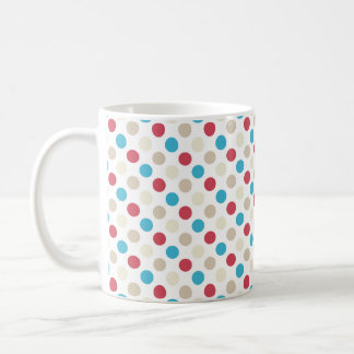 Tan, Red, White, and Blue Polka Dots Coffee Mug
