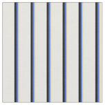 [ Thumbnail: Tan, Royal Blue, Black, and White Lines Pattern Fabric ]