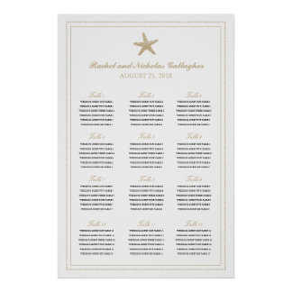 Tan Sand Graceful Starfish 24 x 36 Seating Chart