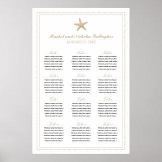 Tan Sand Graceful Starfish 24 x 36 Seating Chart Poster