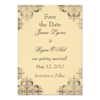 Tan Scrubbed Damask Save the Date 5x7 Paper Invitation Card