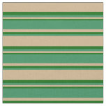 [ Thumbnail: Tan, Sea Green & Dark Green Stripes Pattern Fabric ]