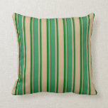 [ Thumbnail: Tan, Sea Green & Dark Green Stripes Pattern Pillow ]