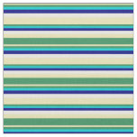 [ Thumbnail: Tan, Sea Green, Dark Turquoise, Blue & White Fabric ]