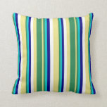 [ Thumbnail: Tan, Sea Green, Dark Turquoise, Blue & White Throw Pillow ]