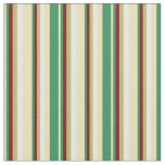 [ Thumbnail: Tan, Sea Green, Maroon, Dark Khaki & White Lines Fabric ]