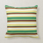 [ Thumbnail: Tan, Sea Green, Maroon, Dark Khaki & White Lines Throw Pillow ]