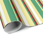 [ Thumbnail: Tan, Sea Green, Maroon, Dark Khaki & White Lines Wrapping Paper ]