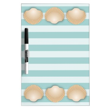 Tan Seashells & Sea Foam Green Nautical Stripes Dry Erase Board