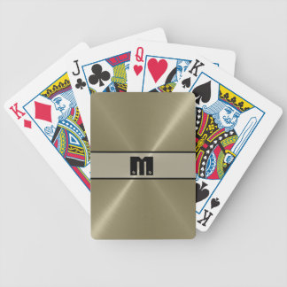 Tan Shiny Stainless Steel Metal 5 Bicycle Playing Cards