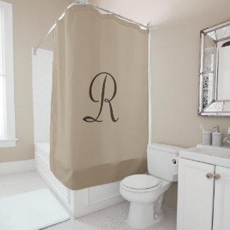 Tan Shower Curtain with Dark Brown Monogram
