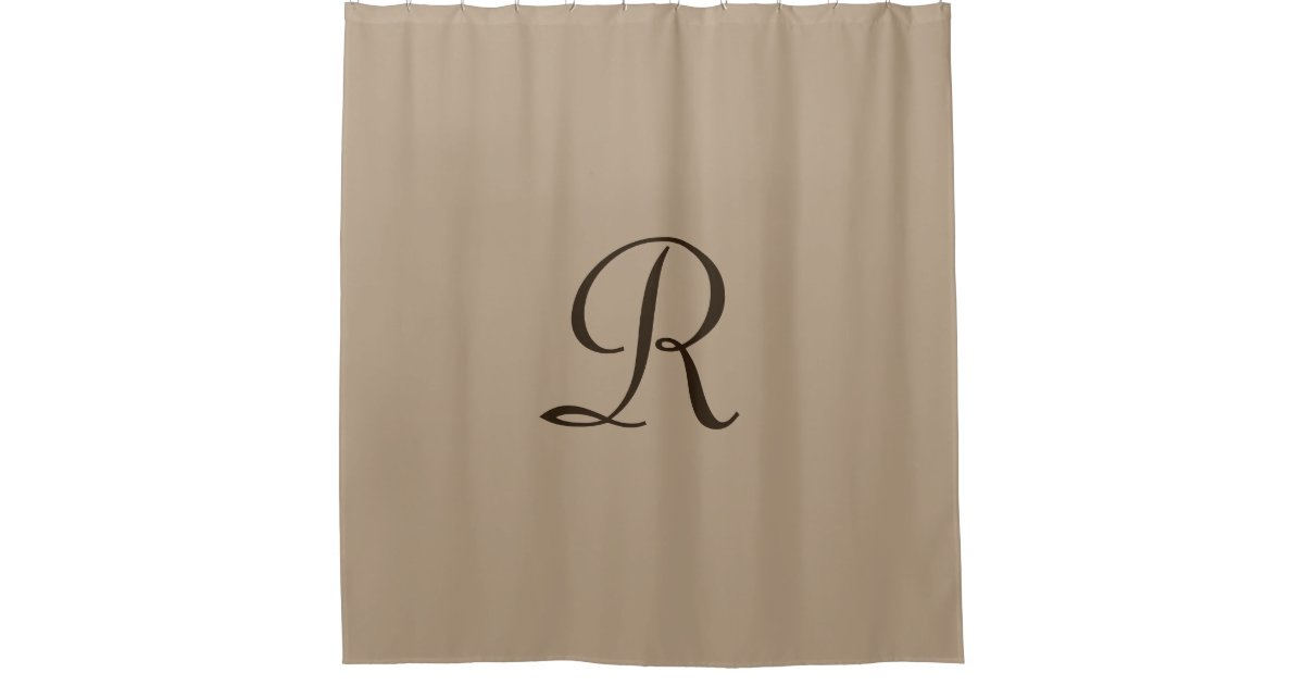Tan Shower Curtain With Dark Brown Monogram Zazzle
